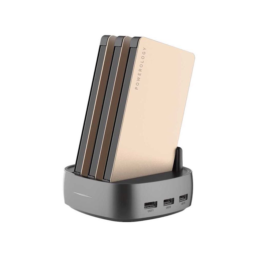 Portativ akkumulyator Powerology 3 in 1 Power Station 8000mAh with Built-In Cable Gold