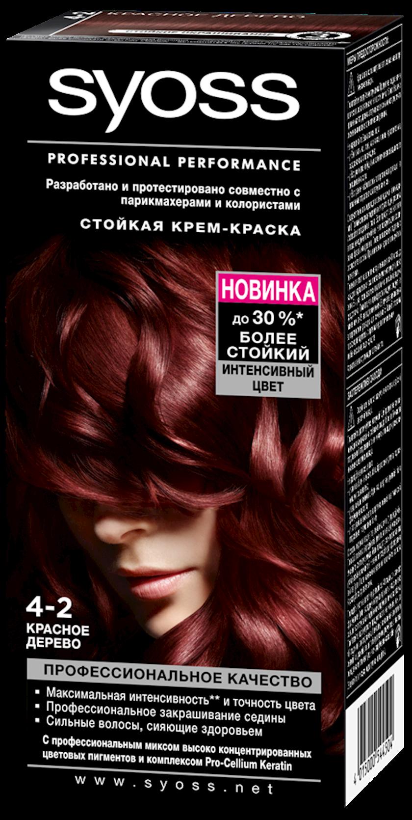 Saç boyası Syoss 4-2 Qırmızı ağac