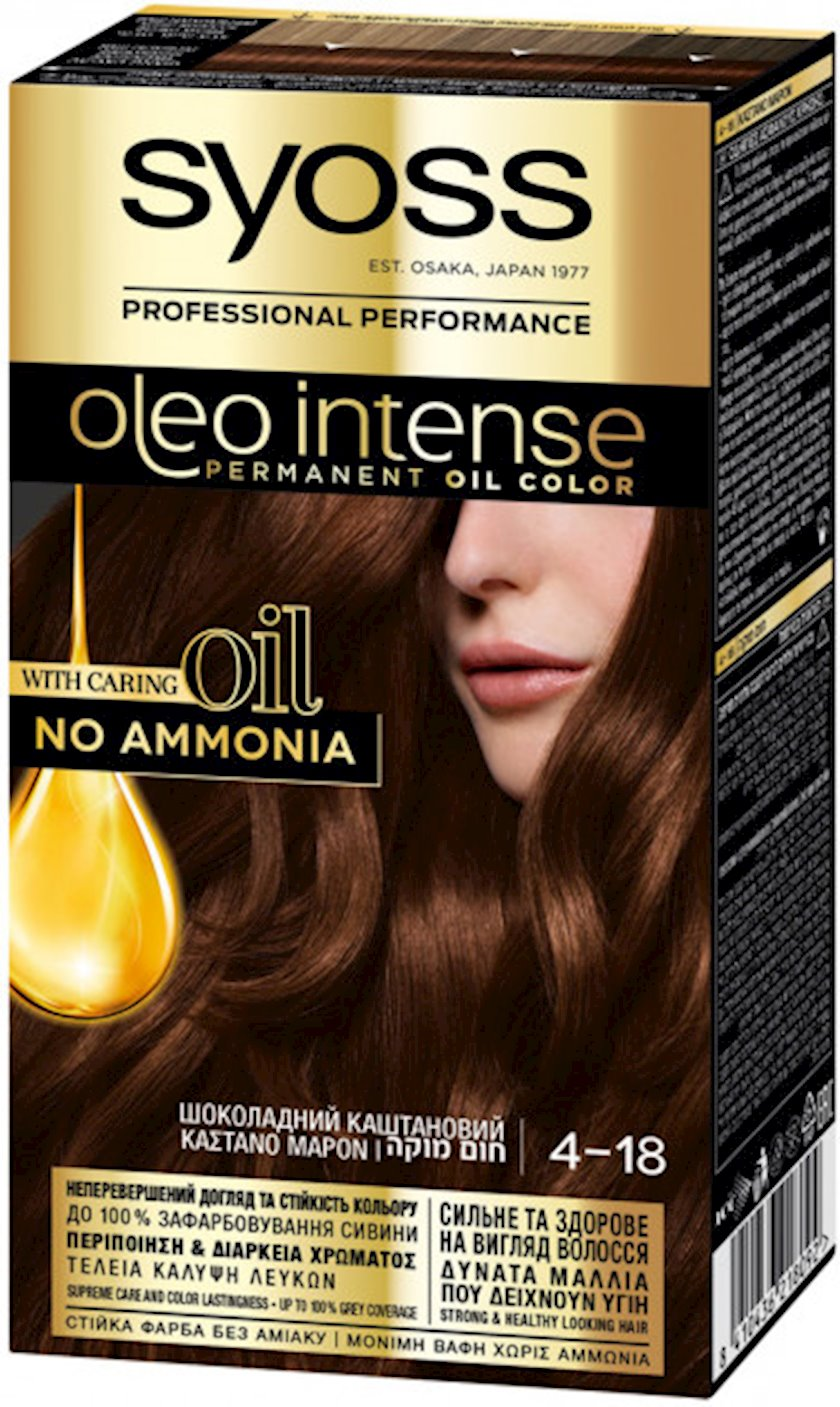Saç boyası Syoss Oleo İntense ammonyaksız 4-18 Şokolad şabalıdı