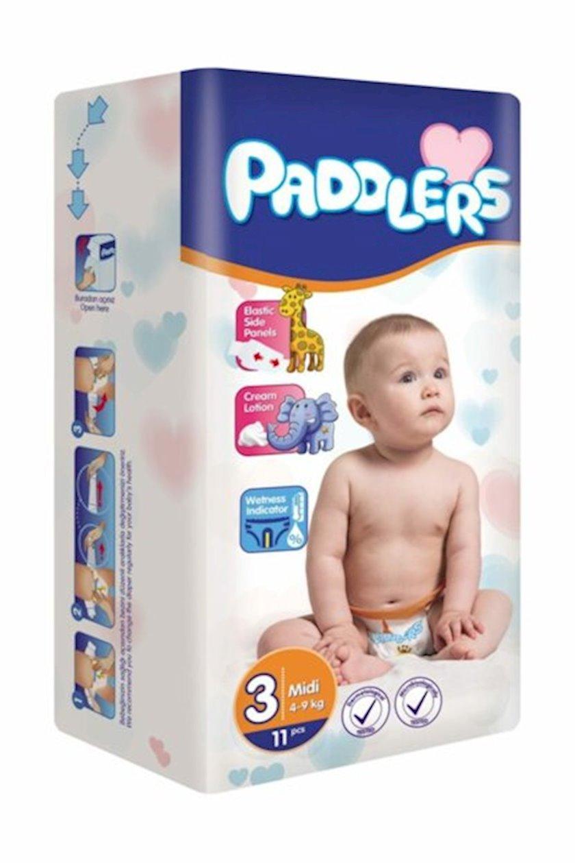 Uşaq bezi Paddlers Midi Standart 3, 4-9 kq, 11 əd
