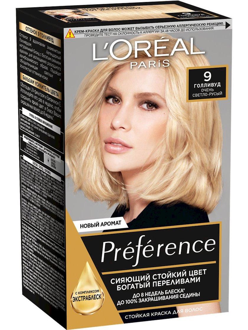 Saç üçün qalıcı krem-boya L'Oreal Paris Preference 9 Hollivud Çox açıq-sarışın