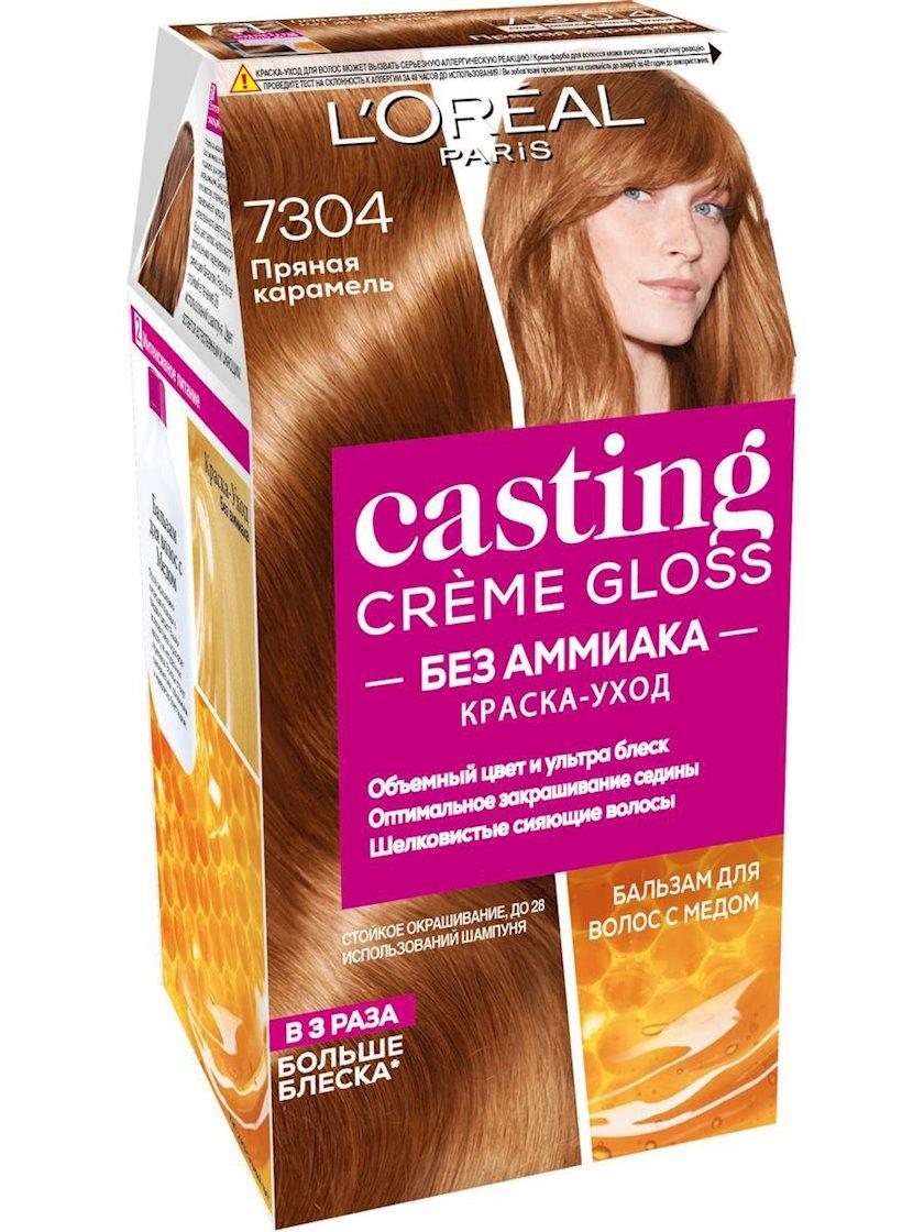 Saç üçün qalıcı krem-boya L'Oreal Paris Casting Creme Gloss ammonyaksız 7304 Ədviyyəli karamel