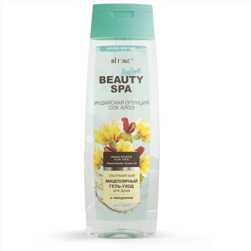 Ultra yumşaq misellyar gel-baxım duş üçün Витэкс Beauty Spa Hindistan Opunsiyası və Aloe Şirəsi 400 ml