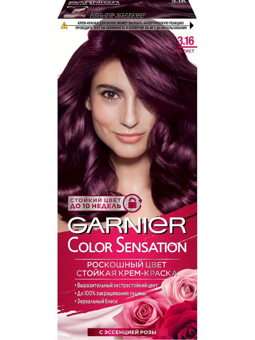 Saç üçün qalıcı krem-boya Garnier Color Sensation Dəbdəbəli rəng 3.16 Ametist