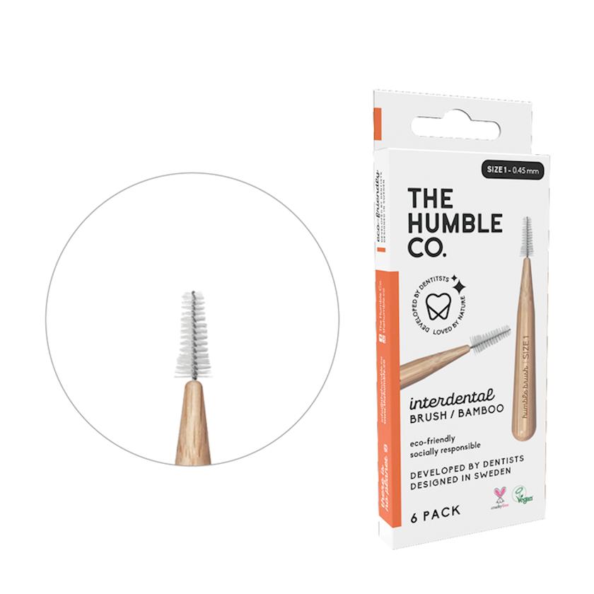 Dişarası bambuk fırçası Humble Co, 0, 45 mm, 6 ədəd